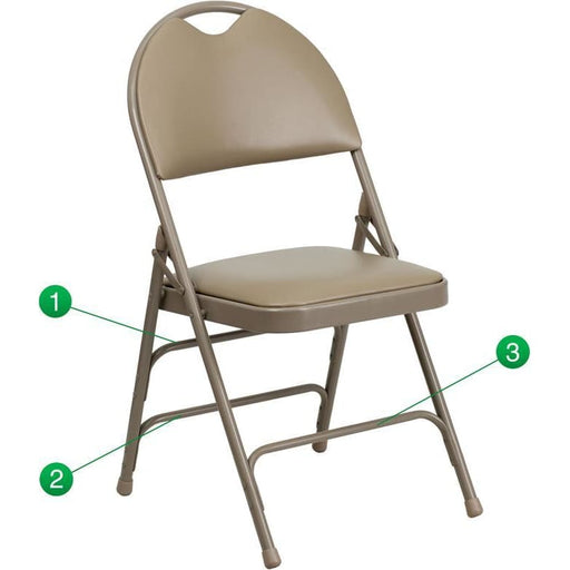Hercules Series Ultra-Premium Triple Braced Beige Vinyl Metal Folding Chair With Easy-Carry Handle - Folding Chairs