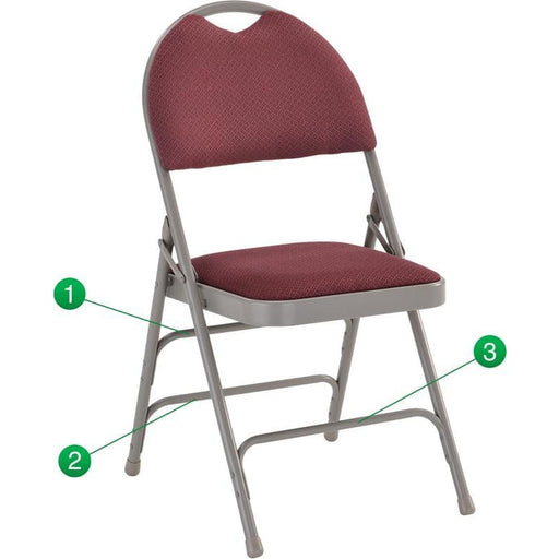 Hercules Series Ultra-Premium Triple Braced Burgundy Fabric Metal Folding Chair With Easy-Carry Handle - Folding Chairs