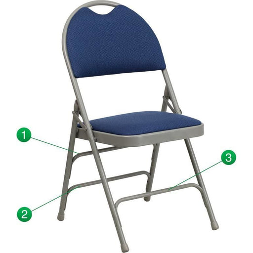 Hercules Series Ultra-Premium Triple Braced Navy Fabric Metal Folding Chair With Easy-Carry Handle - Folding Chairs