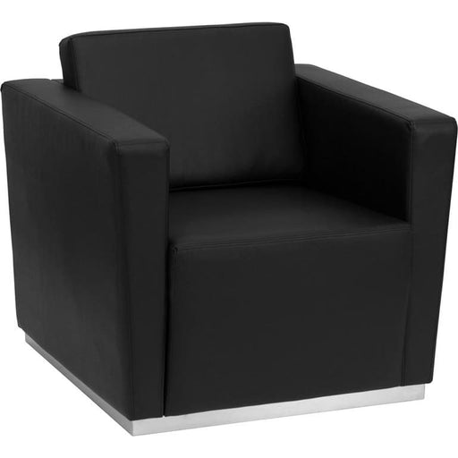 Hercules Trinity Series Contemporary Black Leather Chair With Stainless Steel Base - Reception Furniture - Chairs