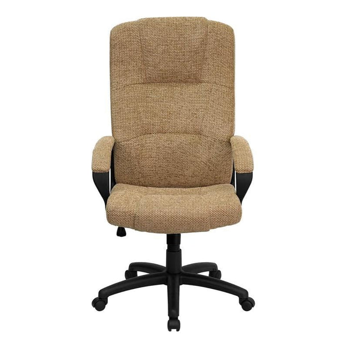 High Back Beige Fabric Executive Swivel Chair With Arms - Office Chairs