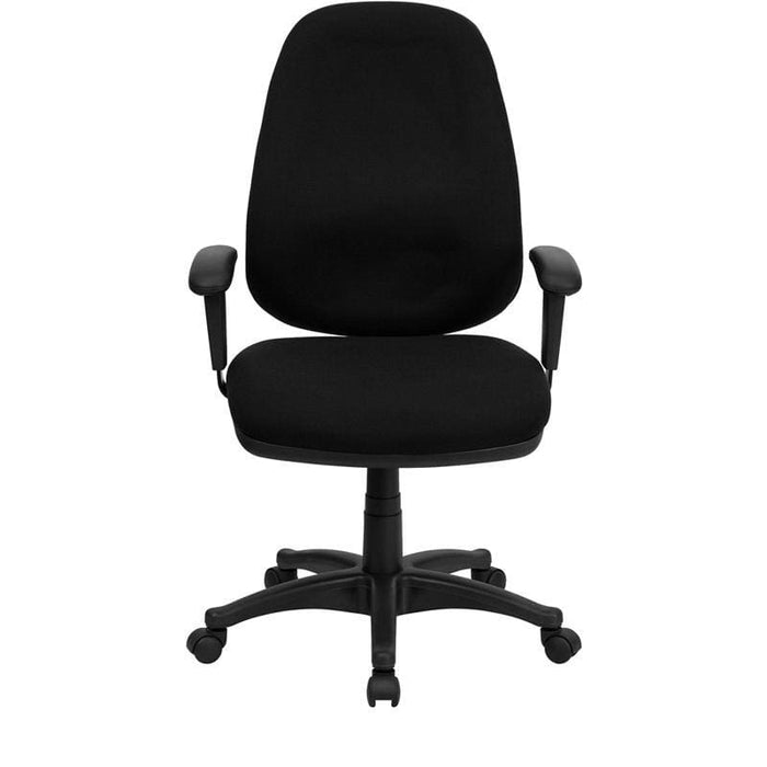 High Back Black Fabric Executive Swivel Chair With Adjustable Arms - Office Chairs