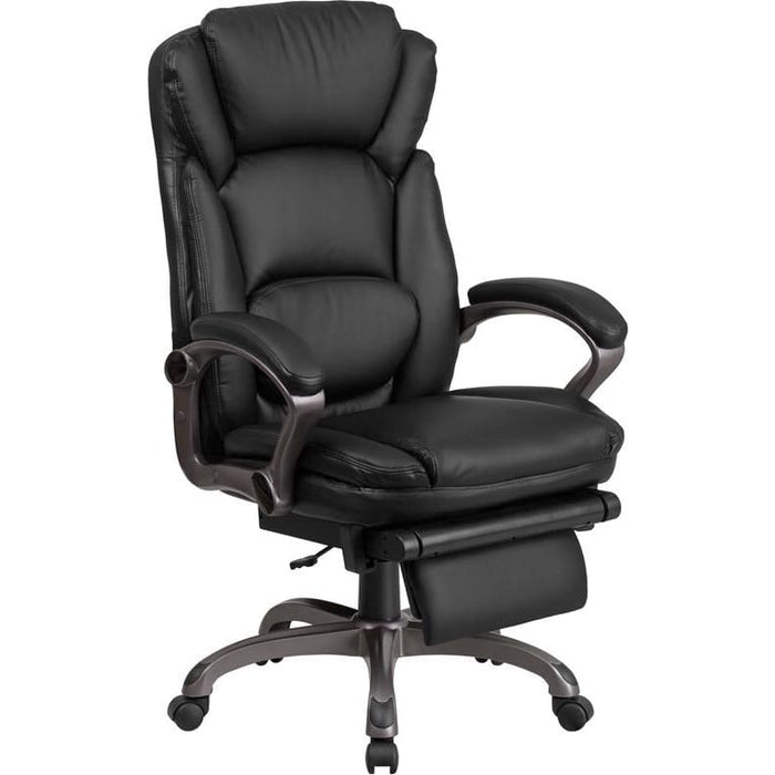 High Back Black Leather Executive Reclining Swivel Chair With Arms - Office Chairs