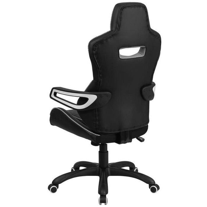 High Back Black Vinyl Executive Swivel Chair With White Trim And Arms - Office Chairs
