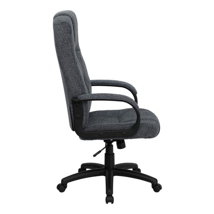 High Back Gray Fabric Executive Swivel Chair With Arms - Office Chairs