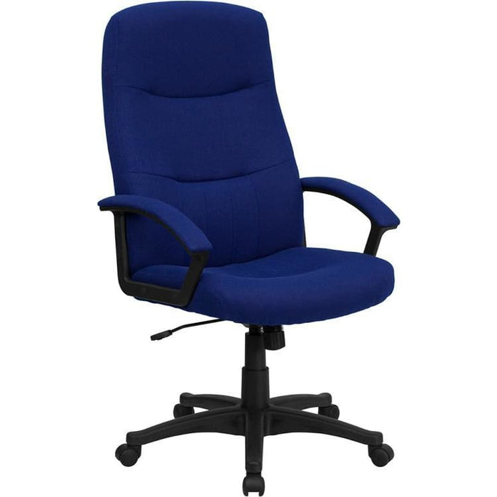 High Back Navy Blue Fabric Executive Swivel Chair With Arms - Office Chairs