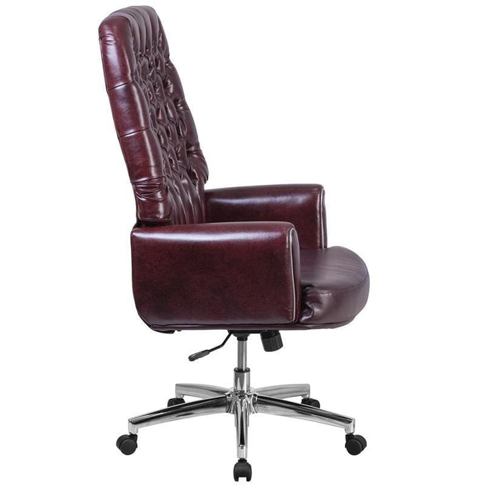 High Back Traditional Tufted Burgundy Leather Executive Swivel Chair With Arms - Office Chairs