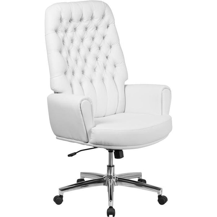 High Back Traditional Tufted White Leather Executive Swivel Chair With Arms - Office Chairs