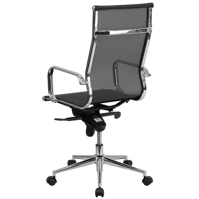 High Back Transparent Black Mesh Executive Swivel Chair With Synchro-Tilt Mechanism And Arms - Office Chairs