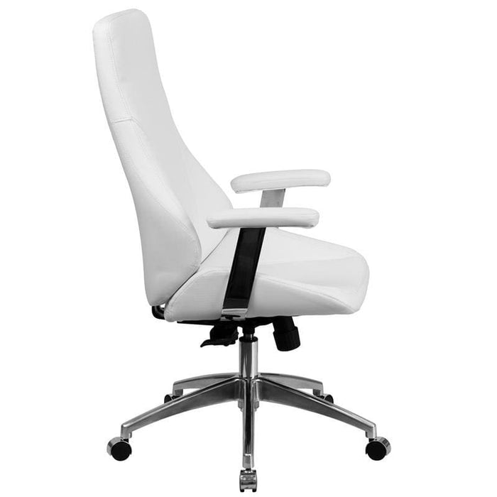 High Back White Leather Executive Swivel Chair With Arms - Office Chairs
