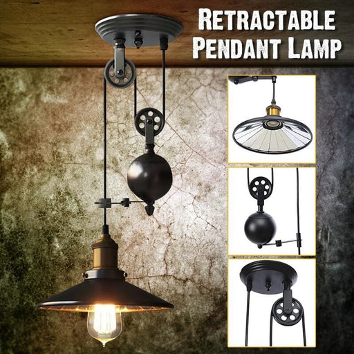 Industrial Vintage Chandeliers Pulley Light Pendant Lighting Fixture Adjustable Wire Retractable Ac110-240V E27 Hanging Lamp - Lighting