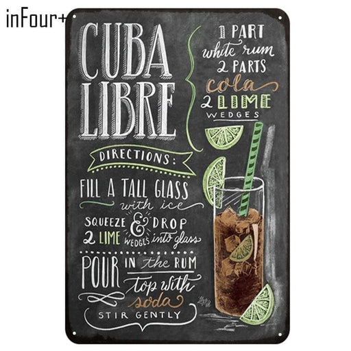 [Infour+] New Cuba Libre Cocktail Metal Signs Home Decor Vintage Tin Signs Pub Home Decorative Plates Metal Sign Wall Plaques - Decor