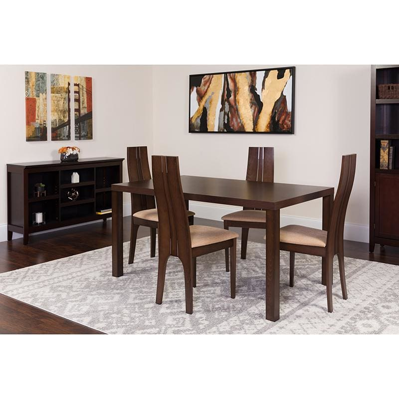 Lakeview 5 Piece Espresso Wood Dining Table Set With Padded Wood Dining Chairs - Dinette Sets