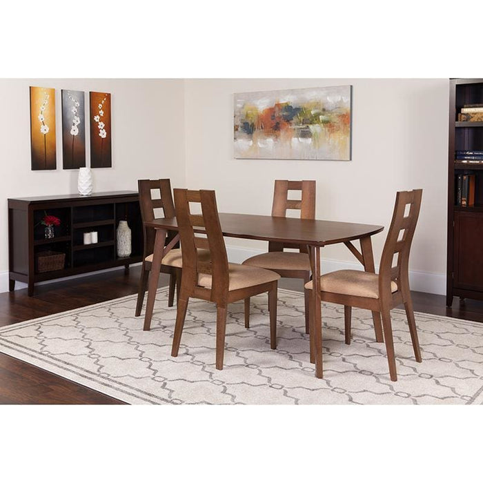 Lasalle 5 Piece Walnut Wood Dining Table Set With Window Pane Back Wood Dining Chairs - Padded Seats - Dinette Sets