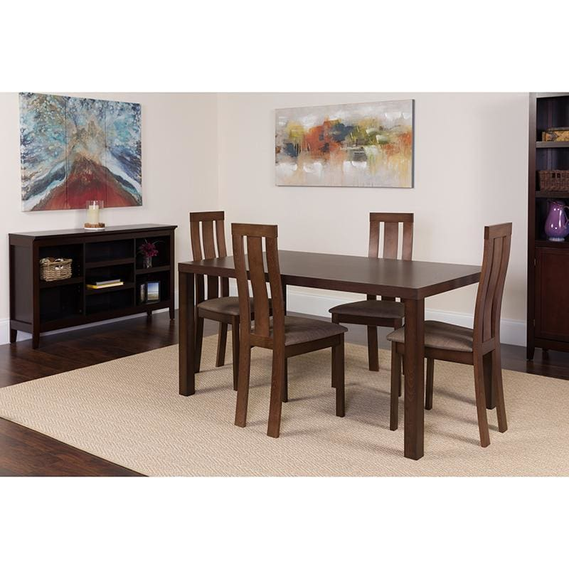 Madison 5 Piece Espresso Wood Dining Table Set With Vertical Wide Slat Back Wood Dining Chairs - Padded Seats - Dinette Sets