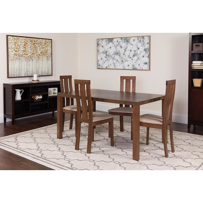 Madison 5 Piece Walnut Wood Dining Table Set With Vertical Wide Slat Back Wood Dining Chairs - Padded Seats - Dinette Sets