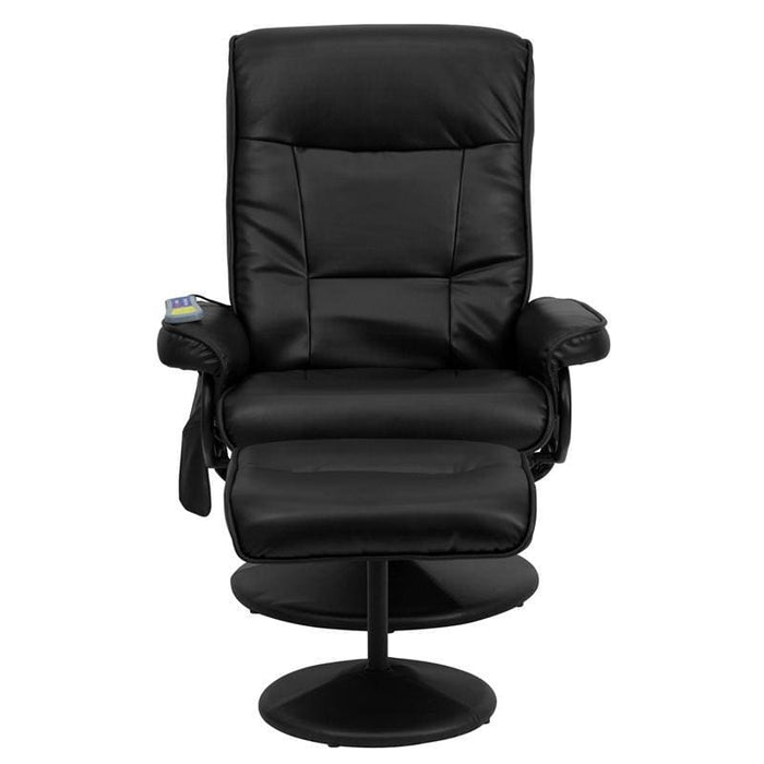 Massaging Black Leather Recliner And Ottoman With Leather Wrapped Base - Recliners