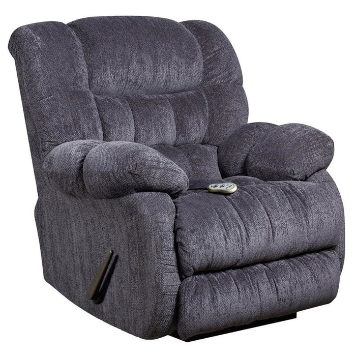 Massaging Columbia Indigo Blue Microfiber Rocker Recliner With Heat Control - Recliners