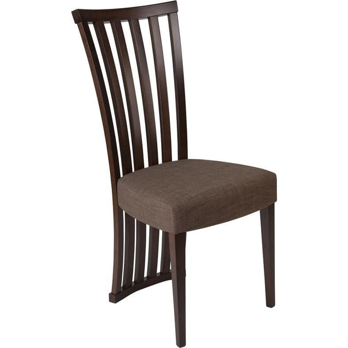 Medford Espresso Finish Wood Dining Chair With Dramatic Rail Back And Ultra-Padded Golden Honey Brown Fabric Seat - Dining Chairs