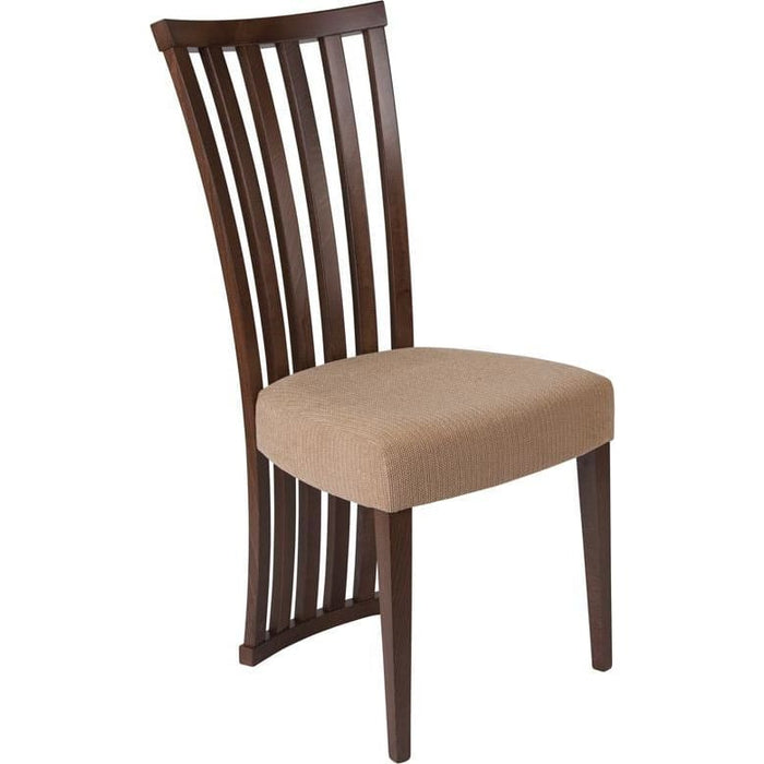 Medford Walnut Finish Wood Dining Chair With Dramatic Rail Back And Ultra-Padded Brown Fabric Seat - Dining Chairs