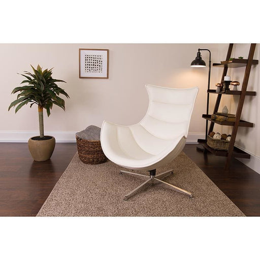 Melrose White Leather Swivel Cocoon Chair - Reception Furniture - Chairs