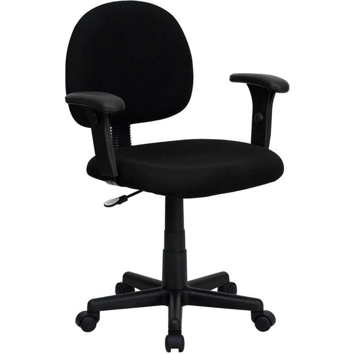 Mid-Back Black Fabric Swivel Task Chair With Adjustable Arms - Office Chairs