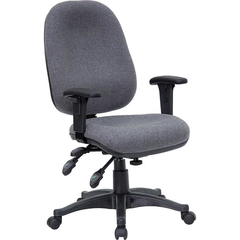 Mid-Back Gray Fabric Multifunction Executive Swivel Chair With Adjustable Arms - Office Chairs