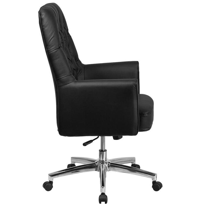 Mid-Back Traditional Tufted Black Leather Executive Swivel Chair With Arms - Office Chairs