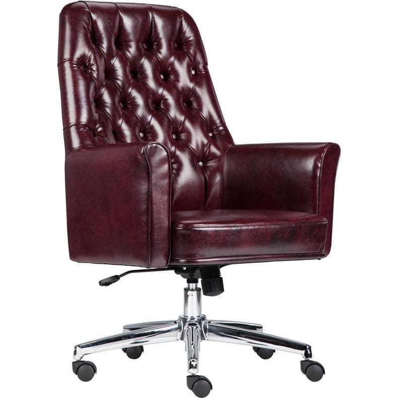 Mid-Back Traditional Tufted Burgundy Leather Executive Swivel Chair With Arms - Office Chairs