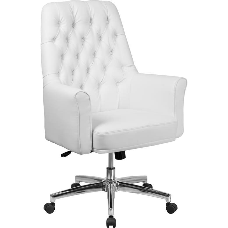 Mid-Back Traditional Tufted White Leather Executive Swivel Chair With Arms - Office Chairs