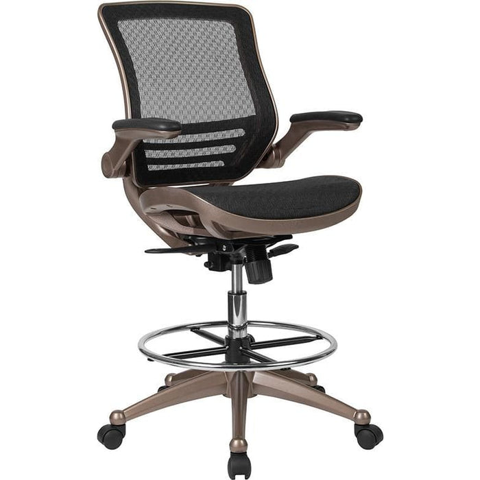 Mid-Back Transparent Black Mesh Drafting Chair With Melrose Gold Frame And Flip-Up Arms - Office Chairs