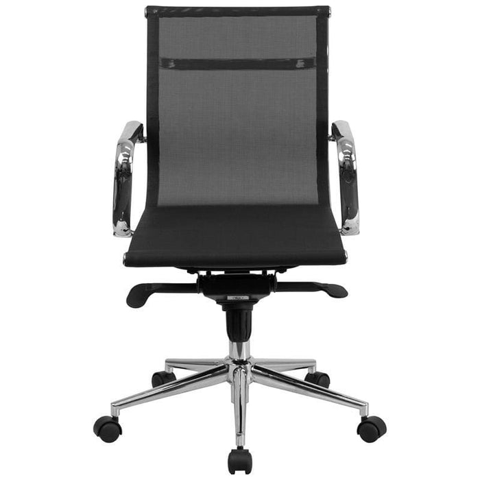 Mid-Back Transparent Black Mesh Executive Swivel Chair With Synchro-Tilt Mechanism And Arms - Office Chairs