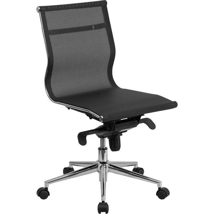 Mid-Back Transparent Black Mesh Executive Swivel Chair With Synchro-Tilt Mechanism - Office Chairs