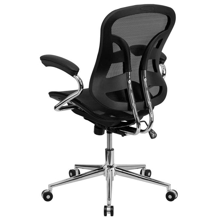Mid-Back Transparent Black Mesh Swivel Task Chair With Chrome Base And Arms - Office Chairs