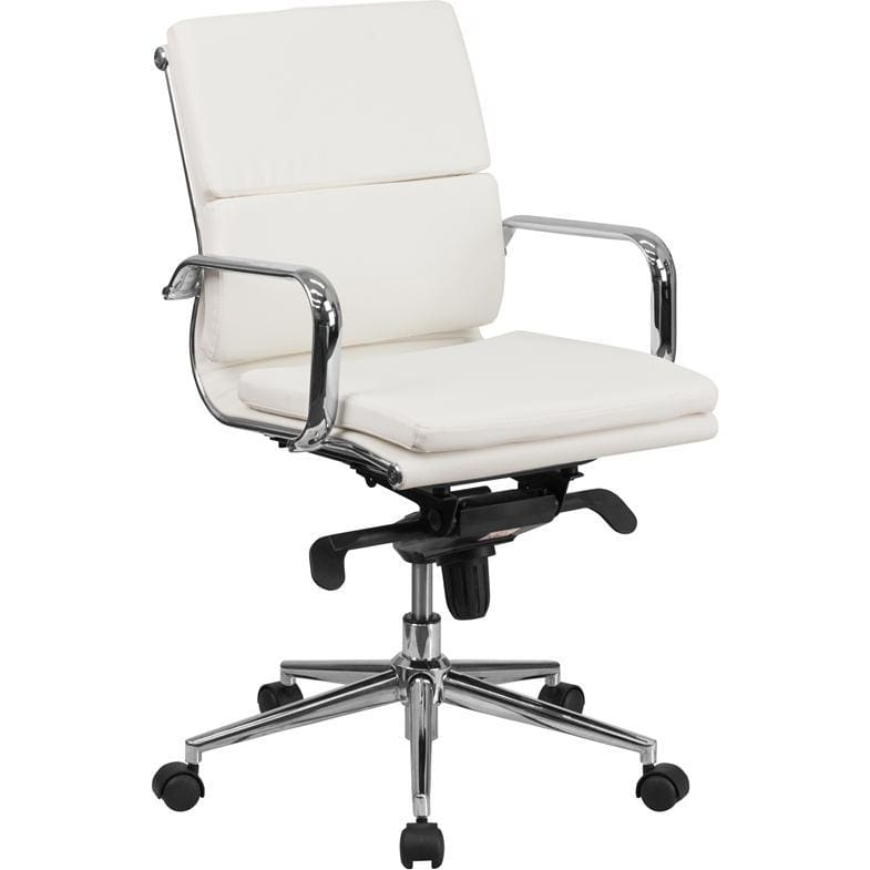 Mid-Back White Leather Executive Swivel Chair With Synchro-Tilt Mechanism And Arms - Office Chairs
