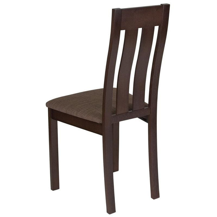 Milton Espresso Finish Wood Dining Chair With Vertical Slat Back And Golden Honey Brown Fabric Seat - Dining Chairs