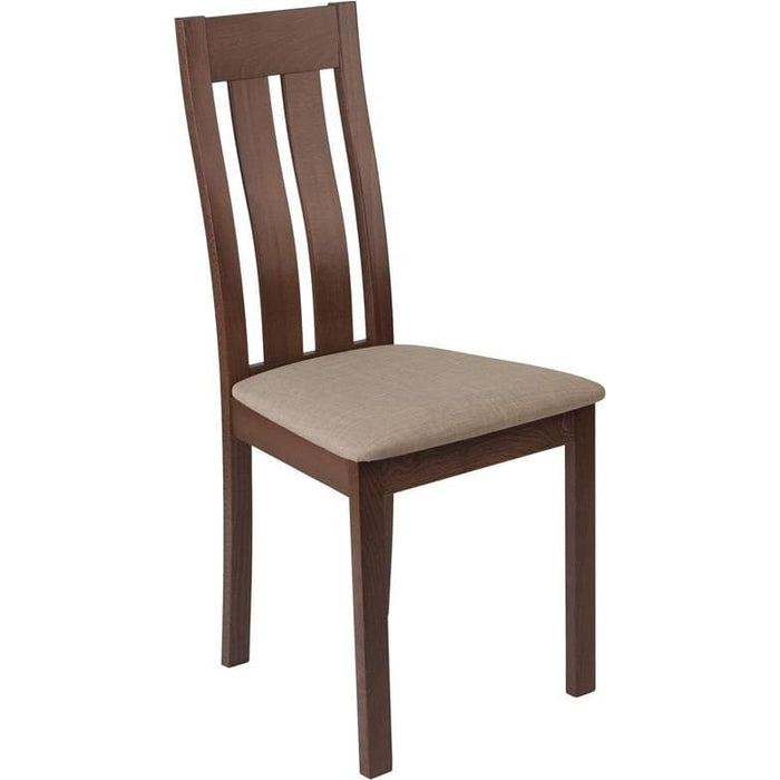 Milton Walnut Finish Wood Dining Chair With Vertical Slat Back And Magnolia Brown Fabric Seat - Dining Chairs