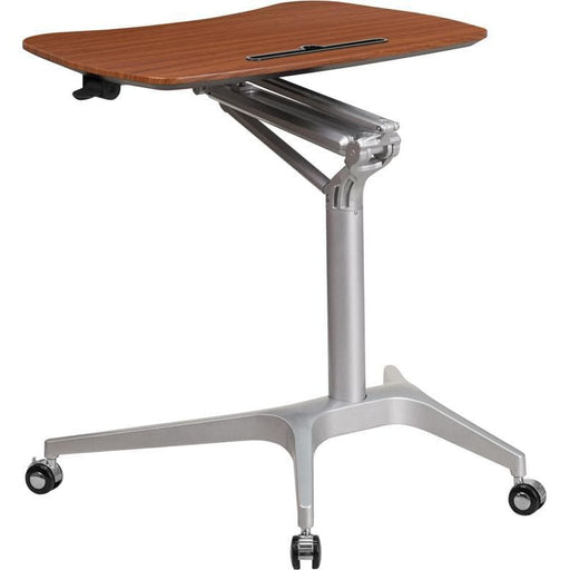 Mobile Sit-Down Stand-Up Mahogany Computer Desk With 28.25W Top (Adjustable Range 29 - 41) - Desks