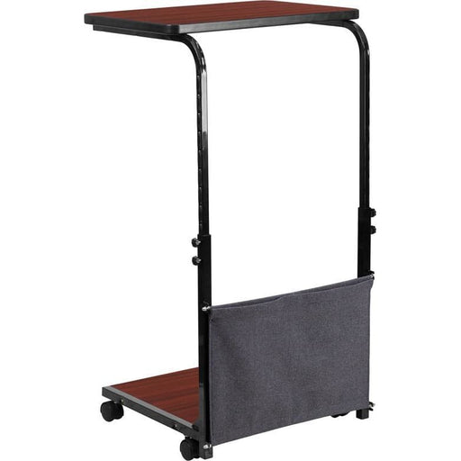 Mobile Sit-Down Stand-Up Mahogany Computer Desk With Removable Pouch (Adjustable Range 27 - 46.5) - Desks