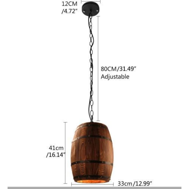 Modern Loft Wooden Wine Barrel Hanging Pendant Lights - D33Cm H41Cm M / China - Lighting