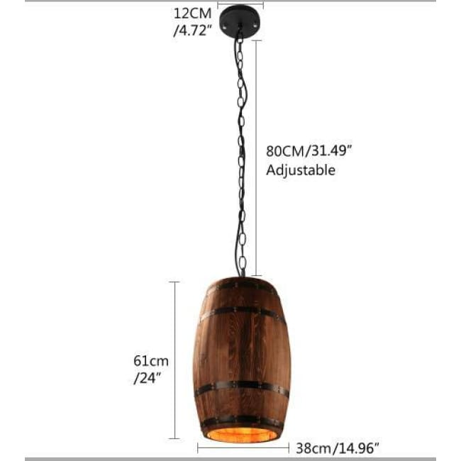 Modern Loft Wooden Wine Barrel Hanging Pendant Lights - D38Cm H61Cm L / China - Lighting