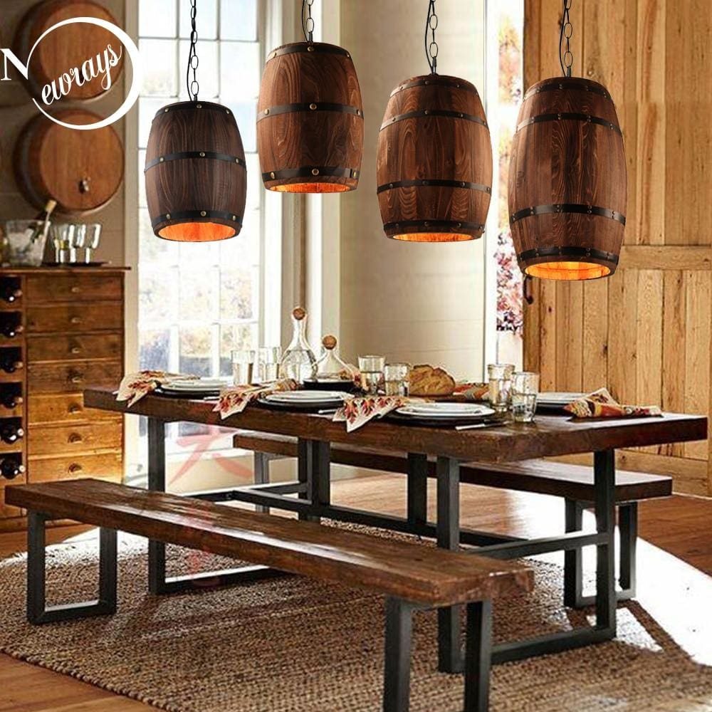 Modern Loft Wooden Wine Barrel Hanging Pendant Lights - Lighting