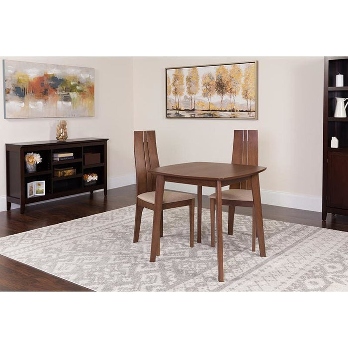 Newport 3 Piece Walnut Wood Dining Table Set With Padded Wood Dining Chairs - Dinette Sets