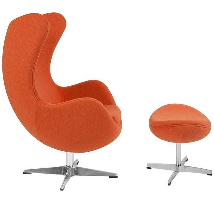 Orange Wool Fabric Egg Chair With Tilt-Lock Mechanism And Ottoman - Reception Furniture - Chair And Ottoman Sets