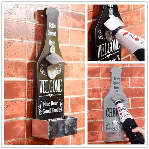 Pastoral Vintage Style Beer Cola Water Bottle Opener Storage Wall Hang Decorations Home Decor
