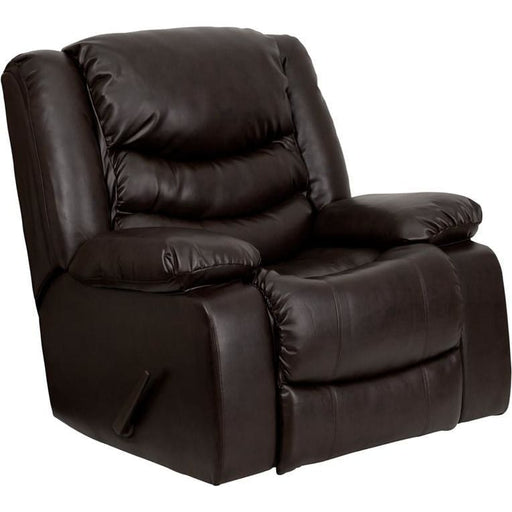 Plush Brown Leather Lever Rocker Recliner With Padded Arms - Recliners