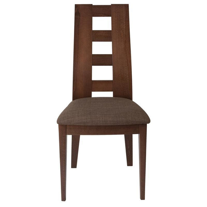 Preston Espresso Finish Wood Dining Chair With Window Pane Back And Golden Honey Brown Fabric Seat - Dining Chairs