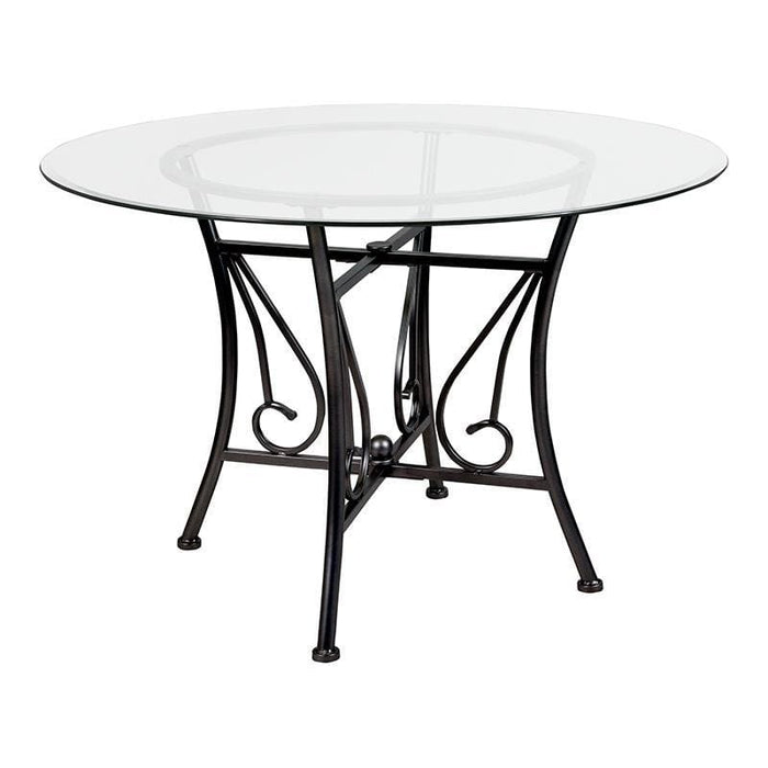 Princeton 45 Round Glass Dining Table With Black Metal Frame - Dinette Tables