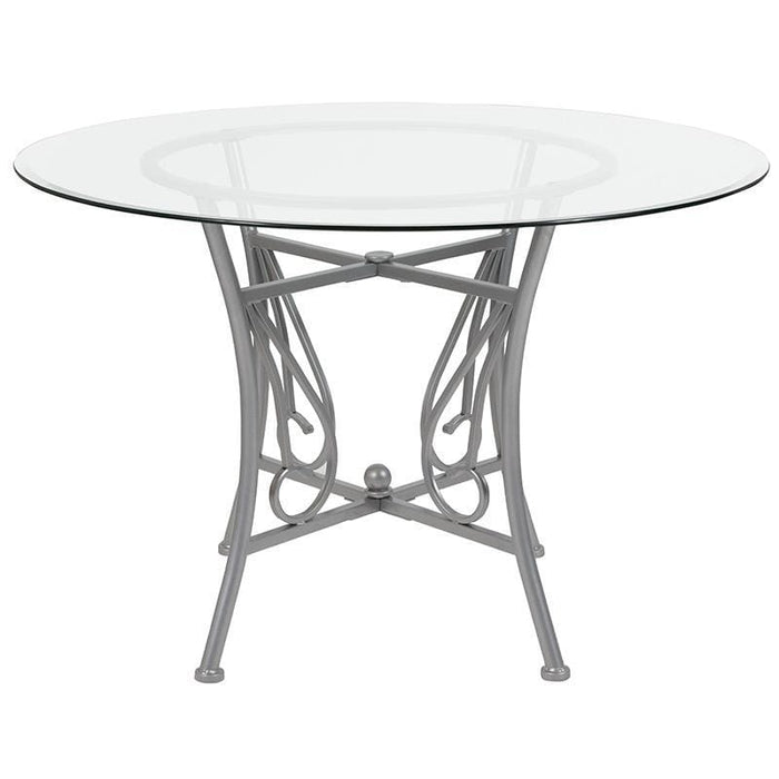 Princeton 45 Round Glass Dining Table With Silver Metal Frame - Dinette Tables