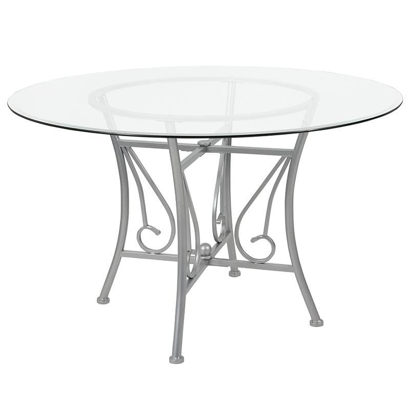 Princeton 48 Round Glass Dining Table With Silver Metal Frame - Dinette Tables